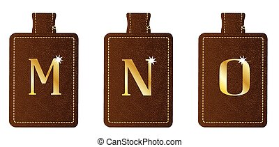 Alphabet Keyring and Fob MNO - A brown leather key fob and...