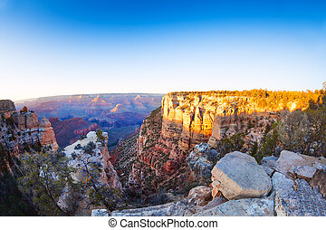 First morning lights on Grand Canyon, Moran Point, Arizona...