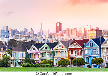 Evening skyline of San Francisco, painted ladies - Early...