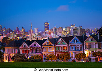 San Francisco night view from Painted Ladies - Beautiful San...