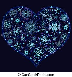 Christmas snow heart
