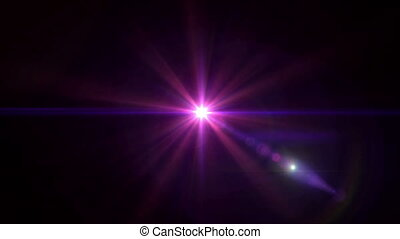 pink lens flare center 4k - abstract image of lens flare...