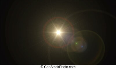 Sun cross lens flare center 4k - abstract image of lens...
