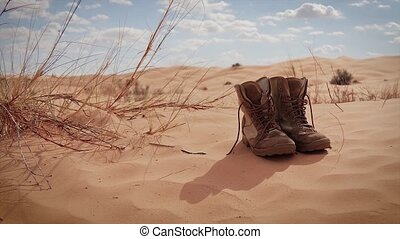 Sahara, Wind and an Explorers Boot - Typical landscape of...