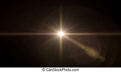 yellow Star cross lens flare center 4k - abstract image of...