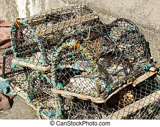 lobster creel and some rope in a port