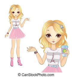Girl In Pink Skirt Holding Coffee - Vector illustration of...