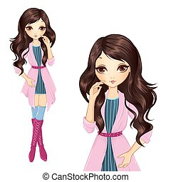 Brunette Girl In Pink Coat - Vector illustration of...