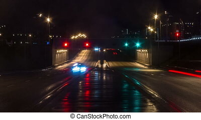 Time lapse video of night city traffic - Night city lights...