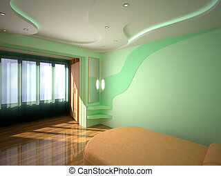 3D interior bedroom - Interior of green bedroom 3D design...