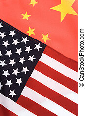 China and USA Flag for background