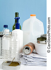 Recycling - Plastic Bottle, Can, Paper and Glass, concept of...