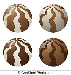 chocolate dragee - sweet chocolate candies dragee on a white...