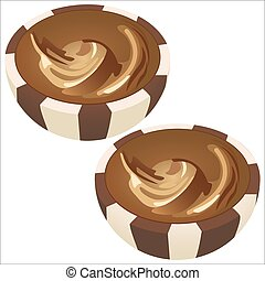 chocolate dragee - sweet chocolates in a cut isolated on...