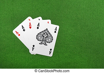Four of a kind aces poker, on a green background
