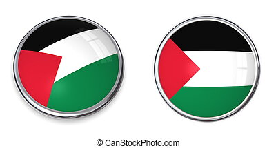 Banner Button Palestine - button style banner in 3D of...