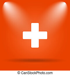 Medical cross icon Internet button on orange background