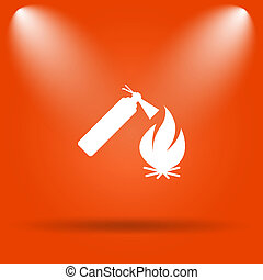 Fire icon Internet button on orange background