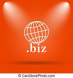 biz icon Internet button on orange background