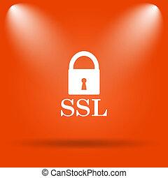 SSL icon Internet button on orange background