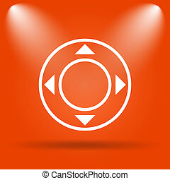 Joystick icon Internet button on orange background