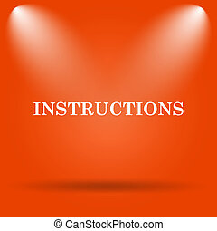 Instructions icon Internet button on orange background