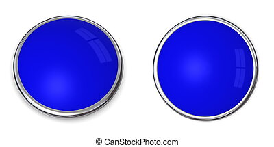 3D Button Solid Blue - 3D button in solid blue, front and...