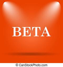 Beta icon Internet button on orange background