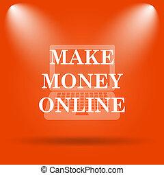Make money online icon Internet button on orange background...