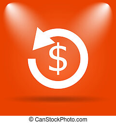 Refund icon Internet button on orange background