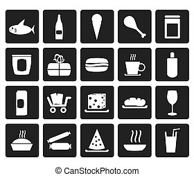 Black Shop and Foods Icons