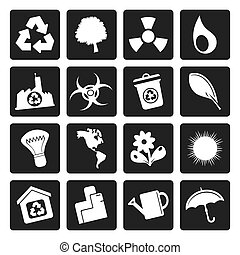 Simple Ecology and Recycling icons