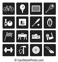 Simple Sports gear and tools icons - Black Simple Sports...