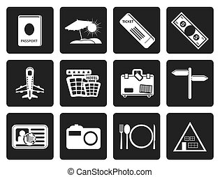 Black Simple Travel and trip Icons- Vector Icon Set