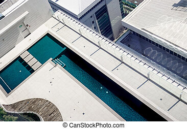 Elevated view of swimming pool at luxurious hotel, Costa...