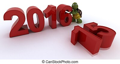 tortoise bringing in the new year - 3D render of a tortoise...