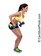 fitness woman on white background - pretty caucasian fitness...