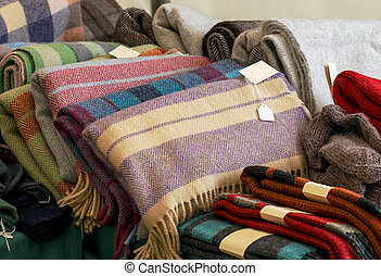 Woollen throws - Selection of throws traditionally made of...