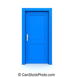 Closed Single Blue Door - single blue door closed - door...