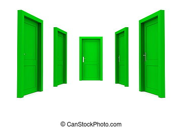 Choose a Green Door - abstract hallway with five green...
