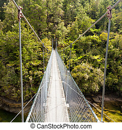 Swing bridge over green jungle river New Zealand - Simple...