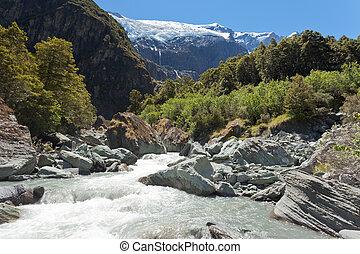 drenajes, De, Robar, roy, glaciar, en, mt, ambicioso, np,...