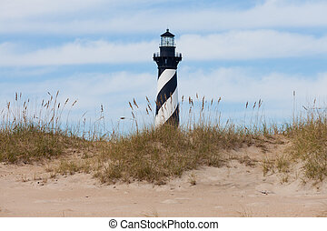 Cape Hatteras Lighthouse seen from beach NC USA - Cape...