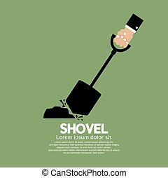Shovel In Hand - Shovel In Hand Vector Illustration