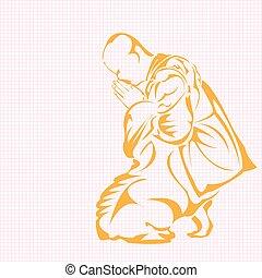 Monk. - A monk in kneeling.