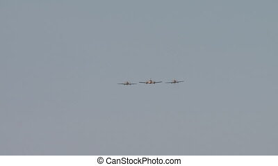 Air show. View of planes flying synchronously - Air show....