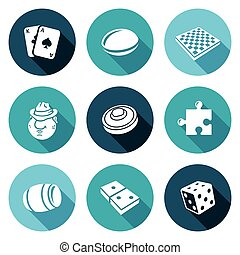 Board games Icons Set Vector Illustration - Isolated Flat...