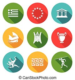 Greece Icons Set Vector Illustration - Isolated Flat Icons...