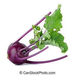 Purple kohlrabi isolated on the white  background.
