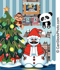 Snowman With Mustache and Santa